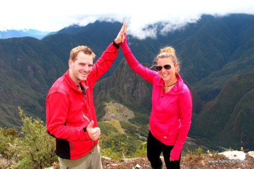 geschafft: auf dem Gipfel des Machu Picchu Mountain